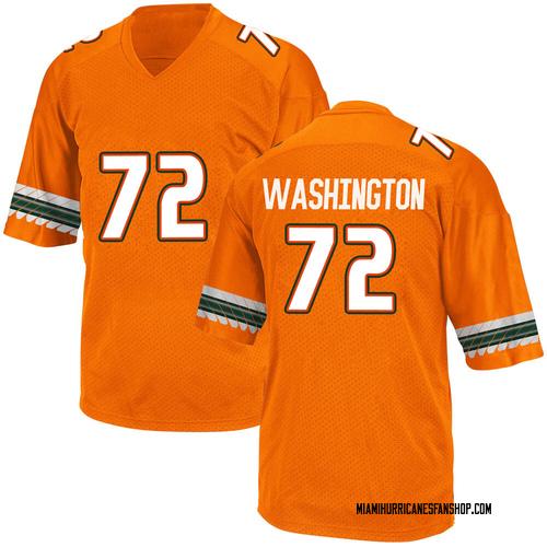 Men's Adidas Chris Washington Miami Hurricanes Replica Orange Alternate College Jersey