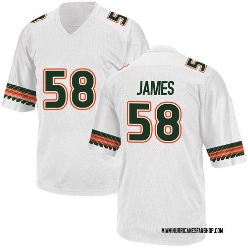 Men's Adidas Clay James Miami Hurricanes Game White Alternate College Jersey