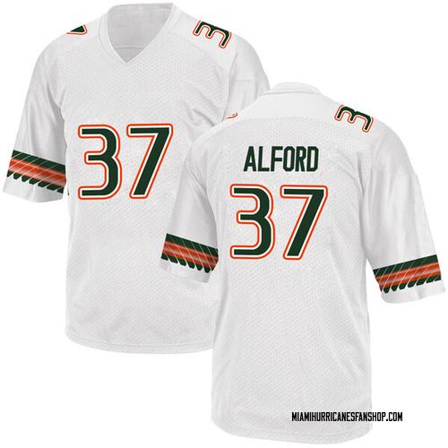 Men's Adidas Colvin Alford Miami Hurricanes Replica White Alternate College Jersey