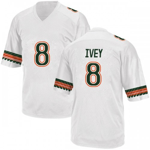 Men's Adidas DJ Ivey Miami Hurricanes Replica White Alternate College Jersey