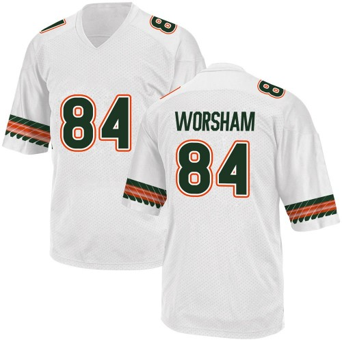 Men's Adidas Dazalin Worsham Miami Hurricanes Replica White Alternate College Jersey