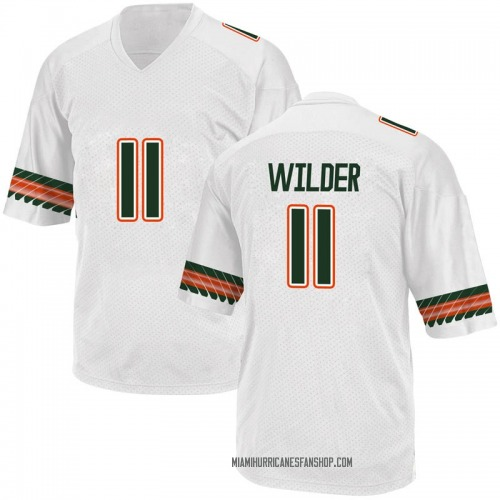 Men's Adidas Deandre Wilder Miami Hurricanes Game White Alternate College Jersey