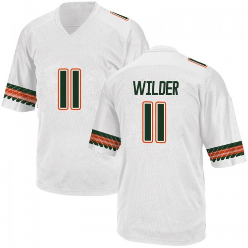 Men's Adidas Deandre Wilder Miami Hurricanes Replica White Alternate College Jersey