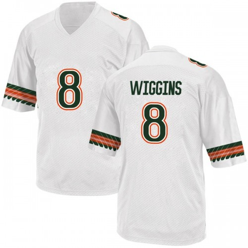 Men's Adidas Dee Wiggins Miami Hurricanes Replica White Alternate College Jersey