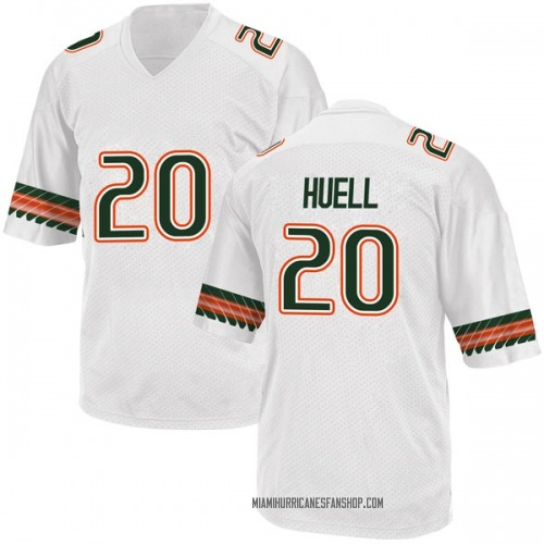 Men's Adidas Dewan Huell Miami Hurricanes Replica White Alternate College Jersey