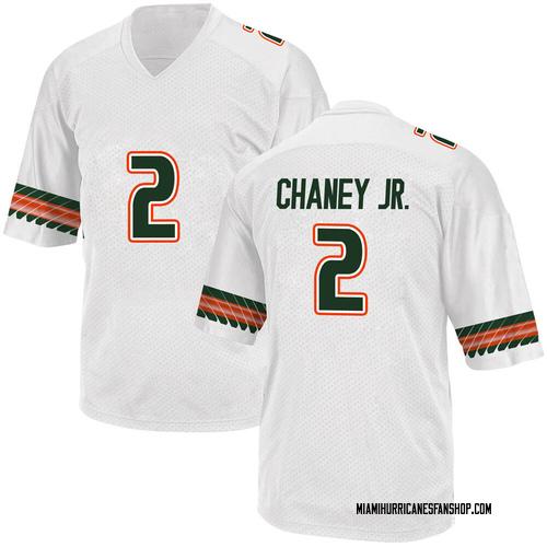 Men's Adidas Donald Chaney Jr. Miami Hurricanes Replica White Alternate College Jersey
