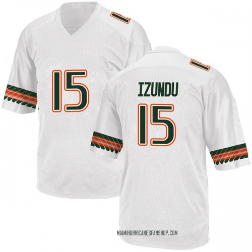 Men's Adidas Ebuka Izundu Miami Hurricanes Replica White Alternate College Jersey