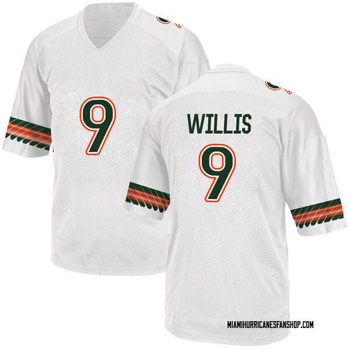 Men's Adidas Gerald Willis III Miami Hurricanes Replica White Alternate College Jersey
