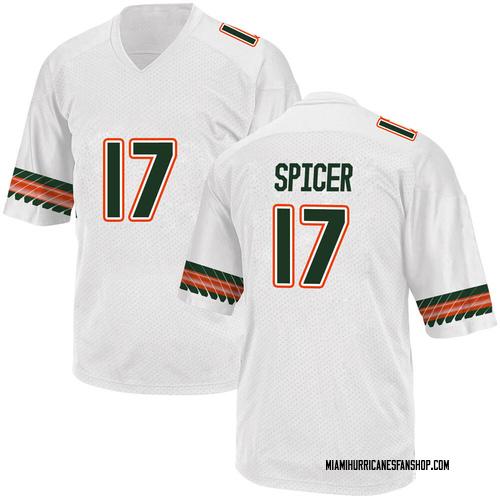 Men's Adidas Jack Spicer Miami Hurricanes Game White Alternate College Jersey