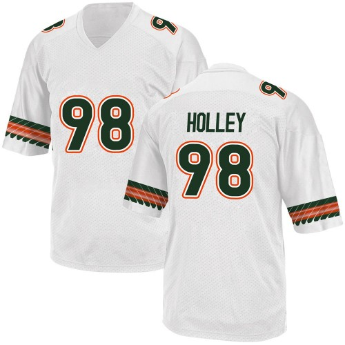 Men's Adidas Jalar Holley Miami Hurricanes Replica White Alternate College Jersey