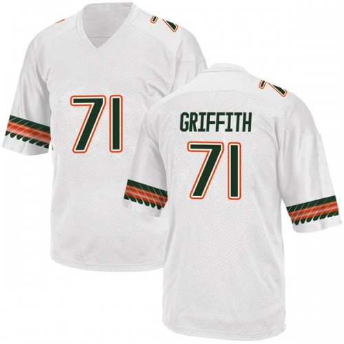 Men's Adidas Jared Griffith Miami Hurricanes Replica White Alternate College Jersey