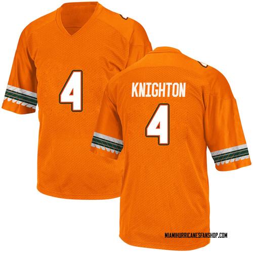 Men's Adidas Jaylan Knighton Miami Hurricanes Game Orange Alternate College Jersey