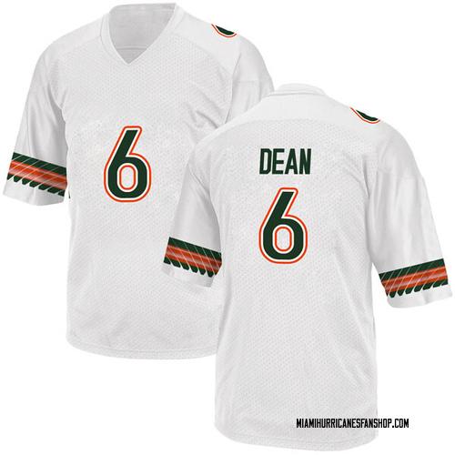 Men's Adidas Jhavonte Dean Miami Hurricanes Replica White Alternate College Jersey