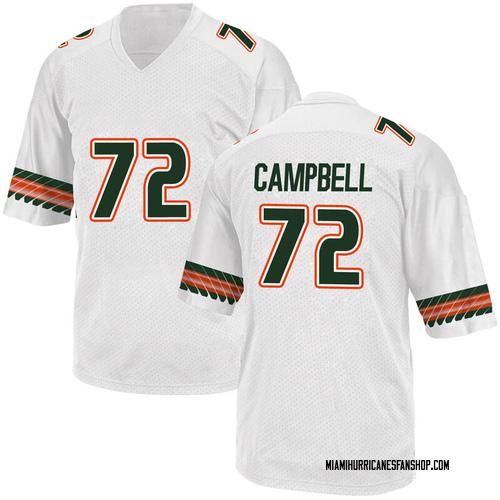 Men's Adidas John Campbell Jr. Miami Hurricanes Game White Alternate College Jersey
