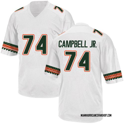 Men's Adidas John Campbell Miami Hurricanes Game White Alternate College Jersey