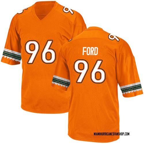 Men's Adidas Jonathan Ford Miami Hurricanes Replica Orange Alternate College Jersey