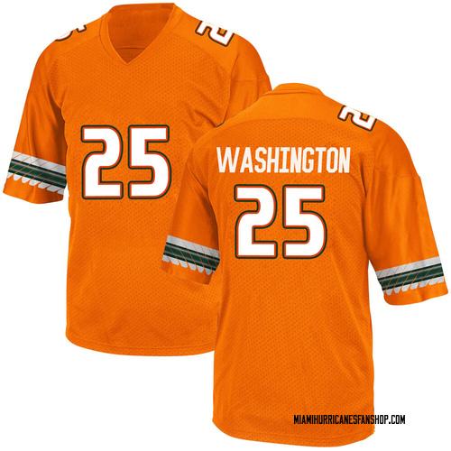 Men's Adidas Keshawn Washington Miami Hurricanes Game Orange Alternate College Jersey