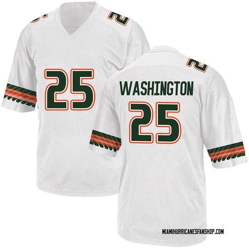 Men's Adidas Keshawn Washington Miami Hurricanes Replica White Alternate College Jersey
