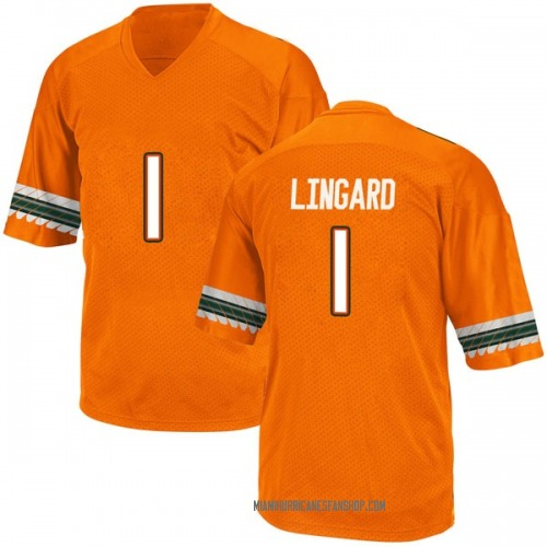 Men's Adidas Lorenzo Lingard Miami Hurricanes Replica Orange Alternate College Jersey