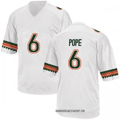 Men's Adidas Mark Pope Miami Hurricanes Game White Alternate College Jersey