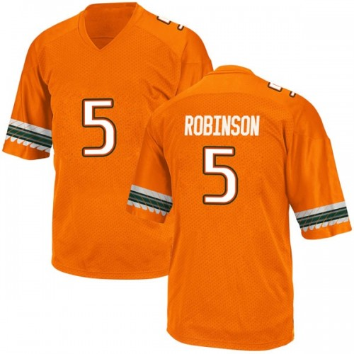 Men's Adidas Mike Robinson Miami Hurricanes Game Orange Alternate College Jersey