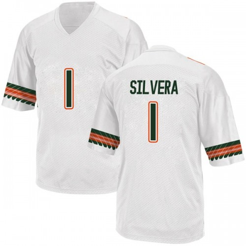 Men's Adidas Nesta Jade Silvera Miami Hurricanes Replica White Alternate College Jersey