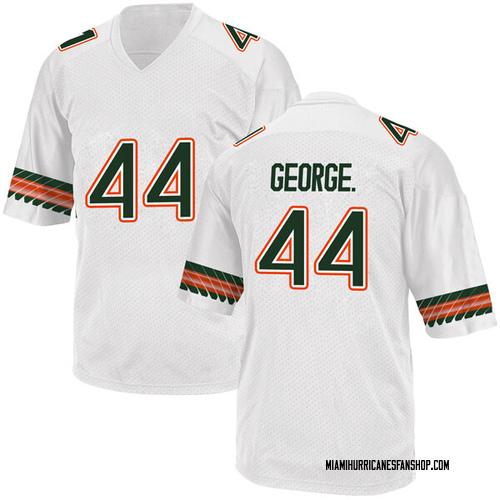 Men's Adidas Realus George Jr. Miami Hurricanes Replica White Alternate College Jersey