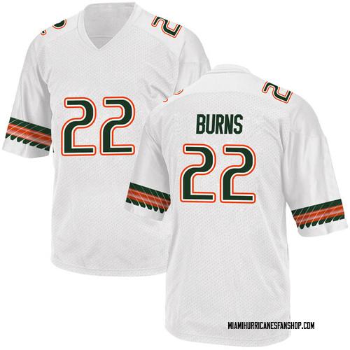 Men's Adidas Robert Burns Miami Hurricanes Game White Alternate College Jersey