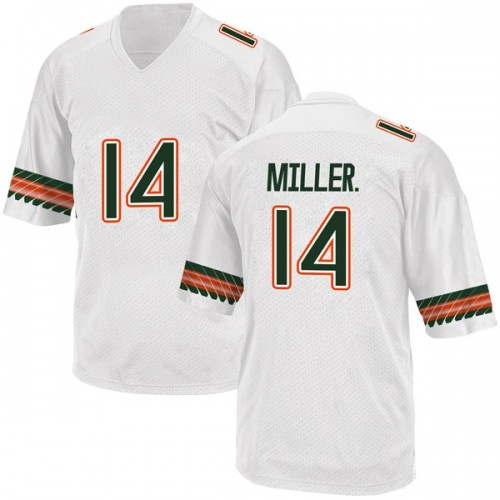 Men's Adidas Rodney Miller Jr. Miami Hurricanes Replica White Alternate College Jersey