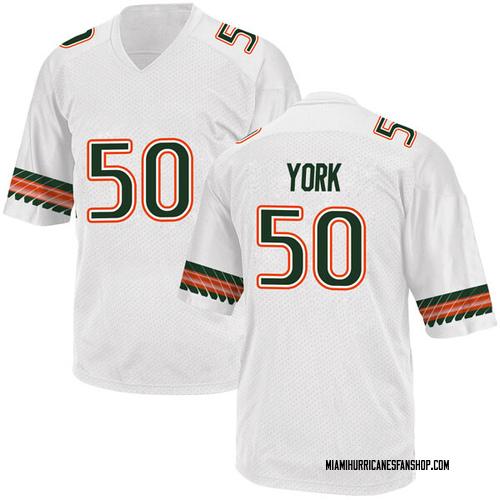 Men's Adidas Sam York Miami Hurricanes Replica White Alternate College Jersey