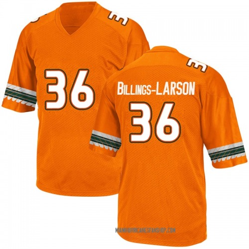 Men's Adidas Steven Billings-Larson Jr. Miami Hurricanes Game Orange Alternate College Jersey
