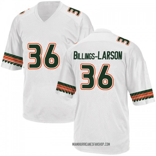 Men's Adidas Steven Billings-Larson Jr. Miami Hurricanes Game White Alternate College Jersey
