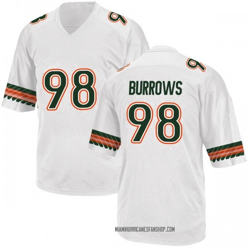 Men's Adidas Suleman Burrows Miami Hurricanes Game White Alternate College Jersey