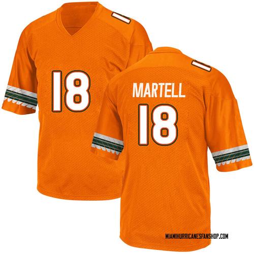 Men's Adidas Tate Martell Miami Hurricanes Game Orange Alternate College Jersey