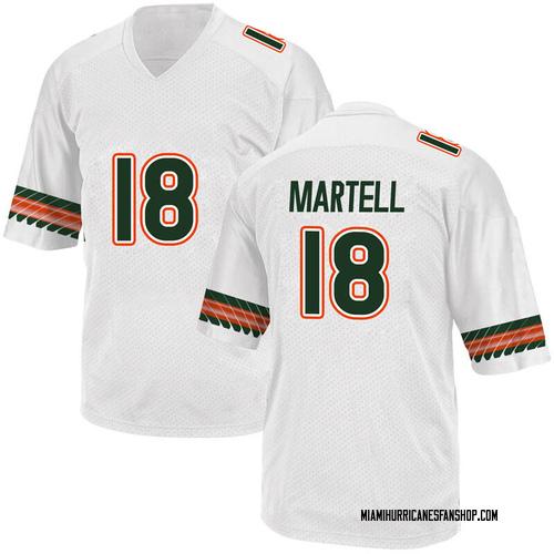 Men's Adidas Tate Martell Miami Hurricanes Replica White Alternate College Jersey