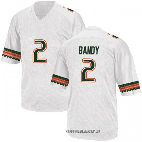 Men's Adidas Trajan Bandy Miami Hurricanes Game White Alternate College Jersey