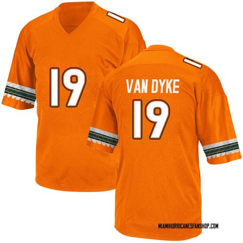 Men's Adidas Tyler Van Dyke Miami Hurricanes Game Orange Alternate College Jersey