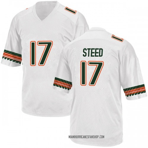 Men's Adidas Waynmon Steed Miami Hurricanes Replica White Alternate College Jersey
