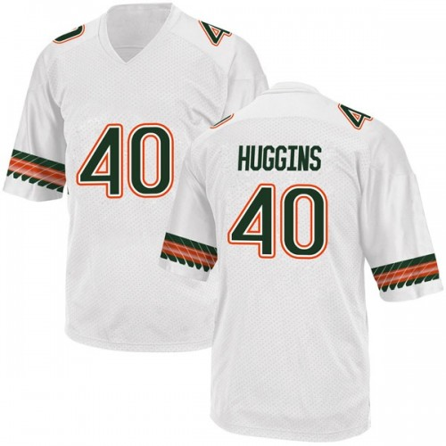 Men's Adidas Will Huggins Miami Hurricanes Game White Alternate College Jersey