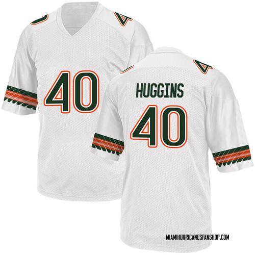 Men's Adidas Will Huggins Miami Hurricanes Replica White Alternate College Jersey