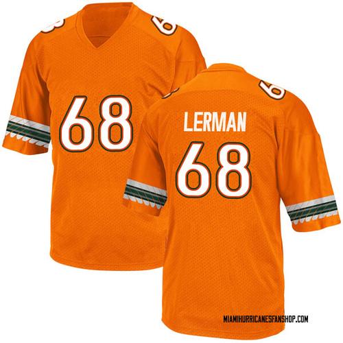 Men's Adidas Zachary Lerman Miami Hurricanes Game Orange Alternate College Jersey
