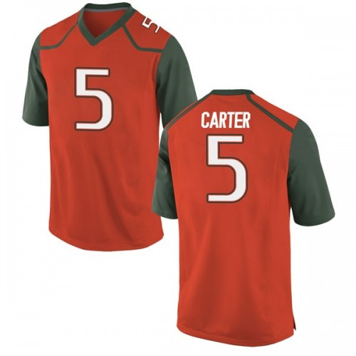 Men's Nike Amari Carter Miami Hurricanes Game Orange College Jersey