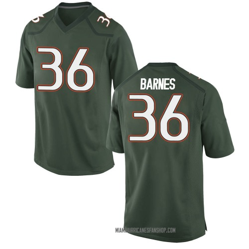 Men's Nike Andrew Barnes Miami Hurricanes Game Green Alternate College Jersey