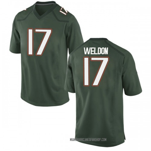 Men's Nike Cade Weldon Miami Hurricanes Game Green Alternate College Jersey
