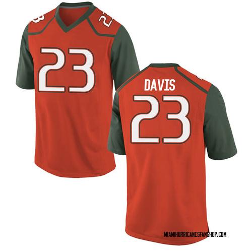 Men's Nike Camron Davis Miami Hurricanes Game Orange College Jersey