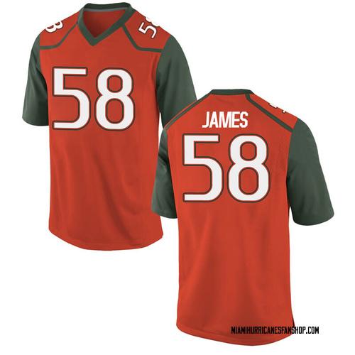Men's Nike Clay James Miami Hurricanes Game Orange College Jersey