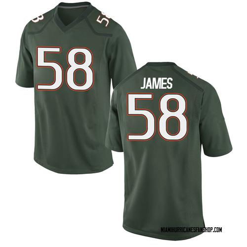 Men's Nike Clay James Miami Hurricanes Replica Green Alternate College Jersey