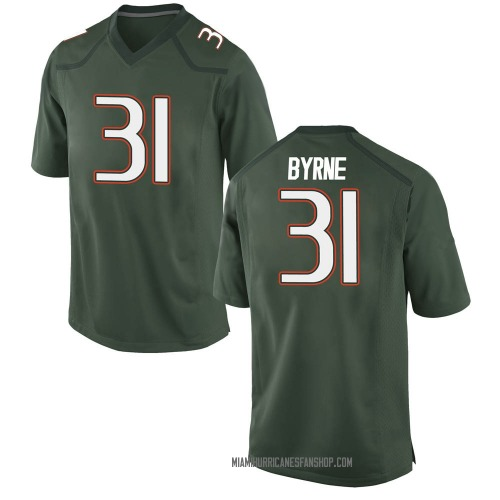 Men's Nike Connor Byrne Miami Hurricanes Game Green Alternate College Jersey