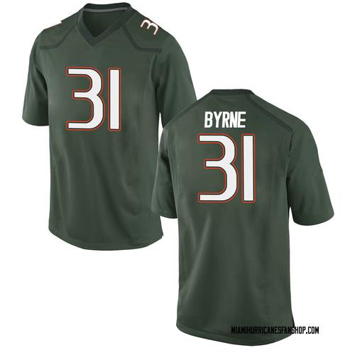 Men's Nike Connor Byrne Miami Hurricanes Replica Green Alternate College Jersey