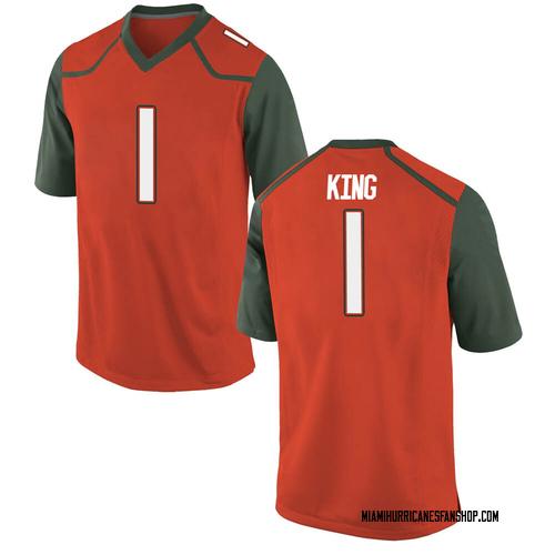 Men's Nike D'Eriq King Miami Hurricanes Game Orange College Jersey
